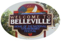 Welcome to Belleville Sign Greeting guests and residents to the city